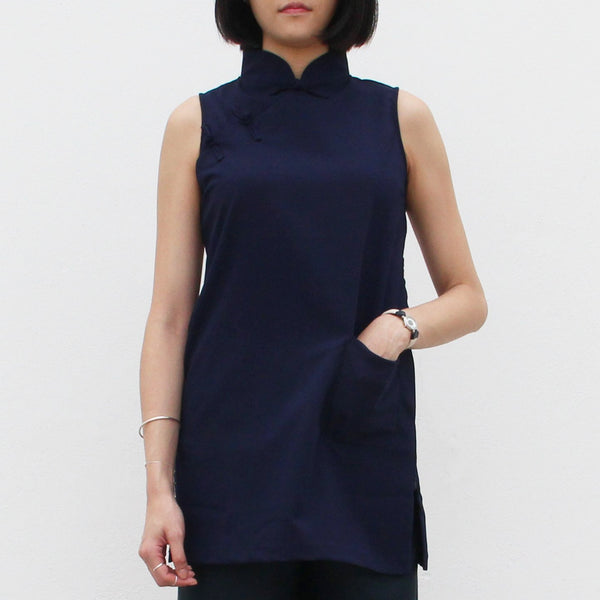 Qipao Tunic with Side Zippers Detail (Navy)