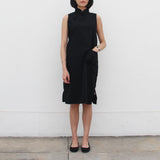 Qipao Dress with Side Zippers Detail (Black)
