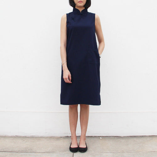 Qipao Dress with Side Zippers Detail (Navy)