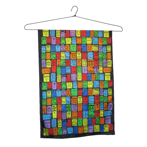 'Rainbow Letterboxes' silk scarf (small)