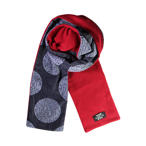 'Brocade' red scarf with golden box