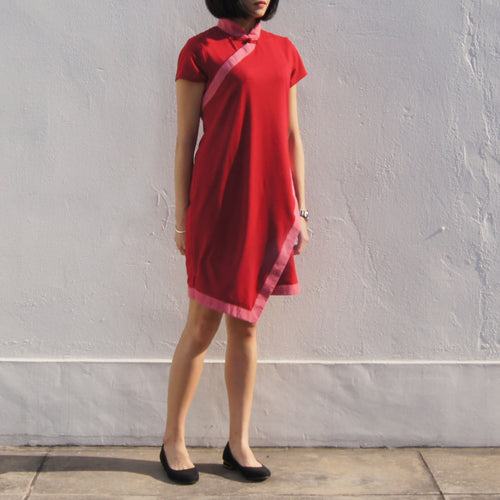 Double Layer Asymmetric Qipao dress (Red)