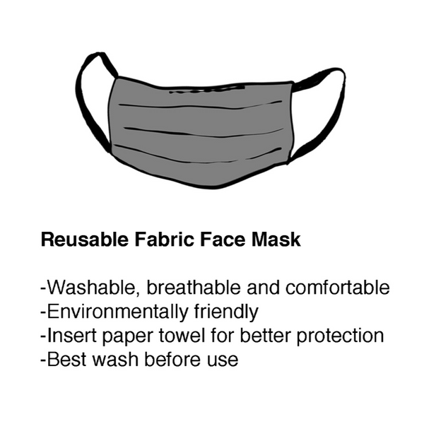 White/Black/Grey Rectangles Pleated Mask with Holder