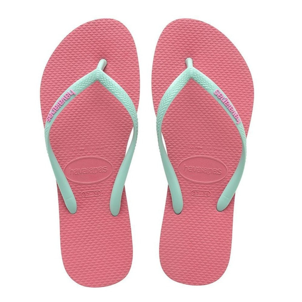 Havaianas Slim Logo Pop Up, Rose & Green Dew