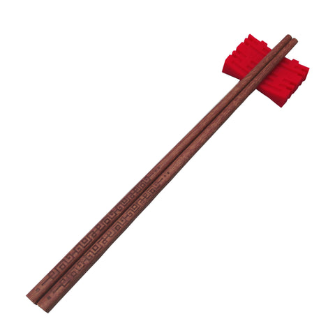 'Chinese Key' patterned chopsticks in Red Sandalwood