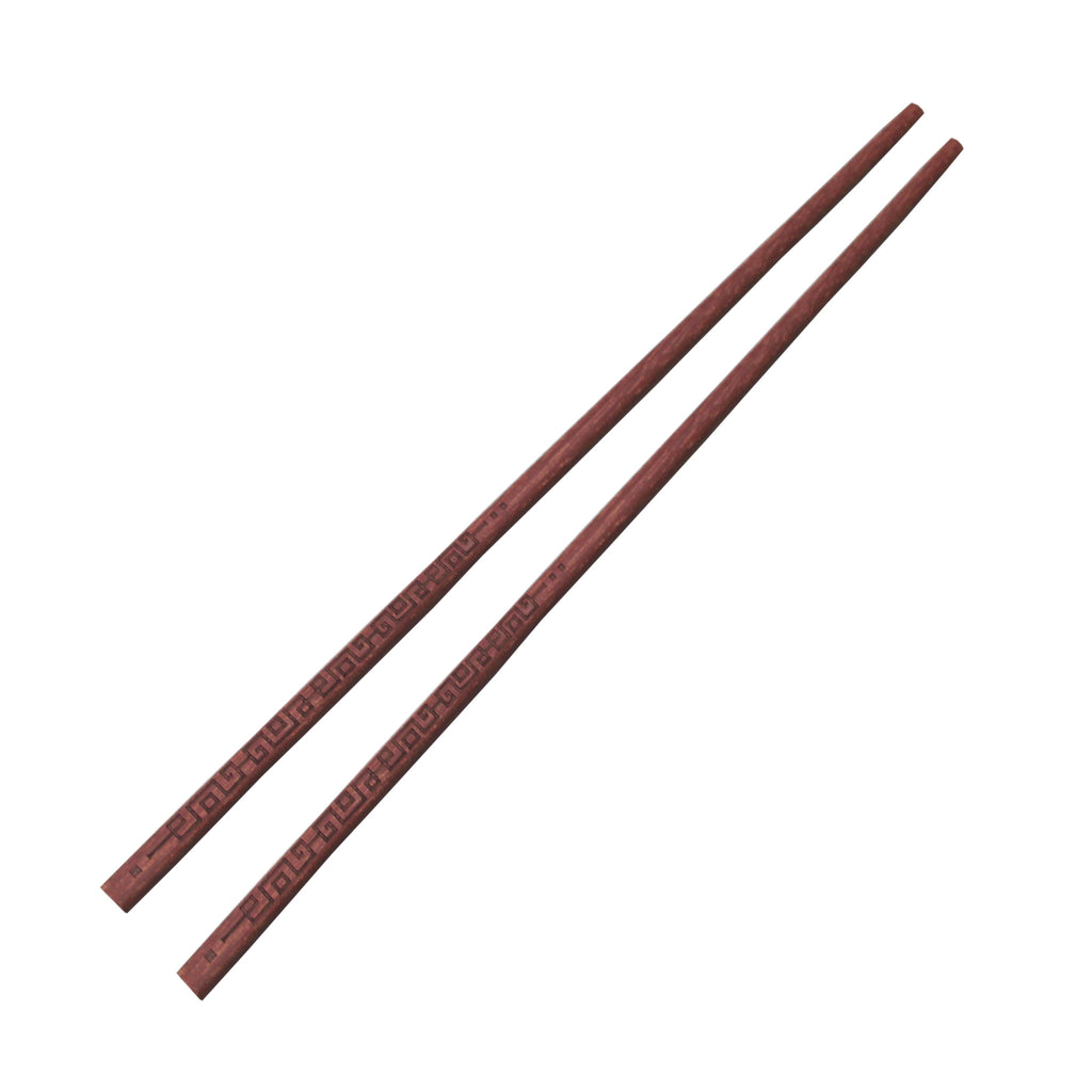 'Chinese Key' patterned chopsticks in Red Sandalwood (set of 6) - Goods of Desire