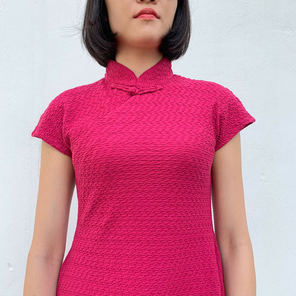 'Scarlet' Jacquard Qipao Dress