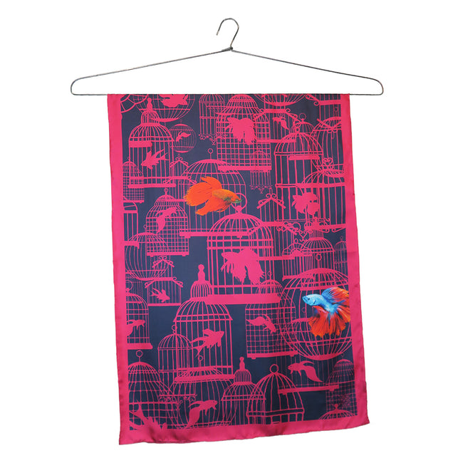 'Siamese Fighting Fish' Silk Scarf, Small