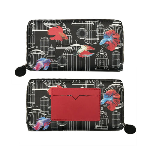 'Siamese Fighting Fish' leather wallet