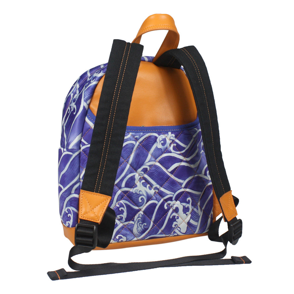 'Blue Wave' with leather trim backpack (small)