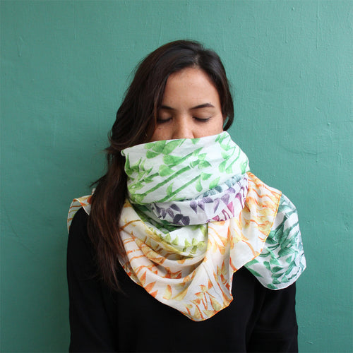 'Bamboo Forest' silk blend scarf (rainbow)