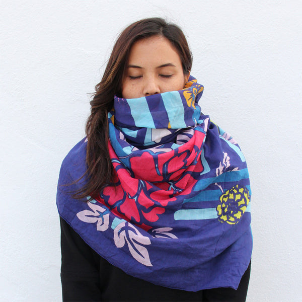 'Double Happiness Lattice' silk blend scarf (blue)