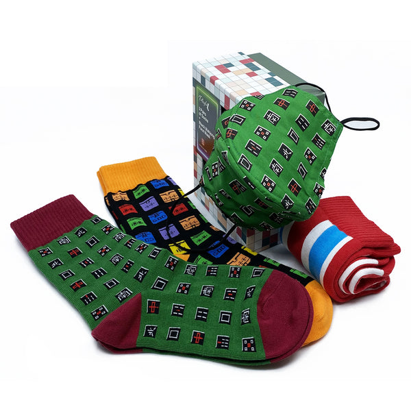 Playful Socks x G.O.D. Socks+Mask Gift Set, Mahjong