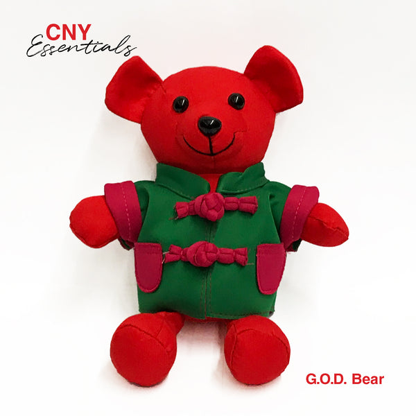 Bear with Green Chinese Jacket, Red