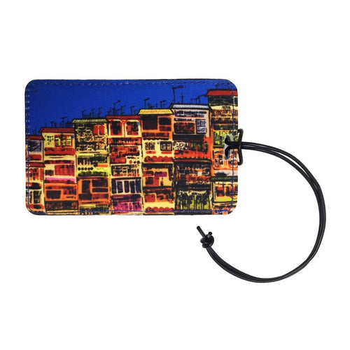'Alex Croft x G.O.D. graffiti wall' luggage tag with leather trim