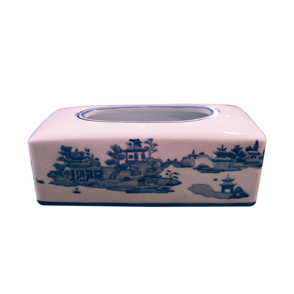 'Chinese Garden' Hand Painted Tissue Box
