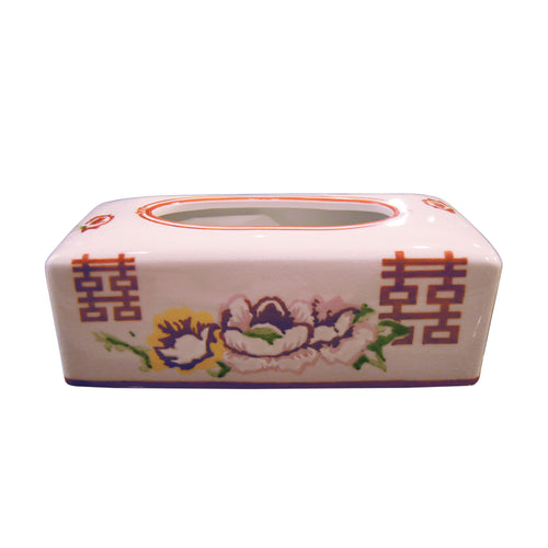 'Floral Double Happiness' Hand Painted Tissue Box