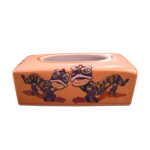 'Lion Dance' handpainted tissue box