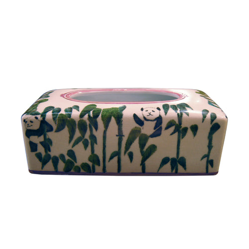 'Panda Bamboo' Hand Painted Tissue Box