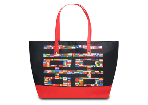 'Double Happiness Flags' tote bag with bright red trim