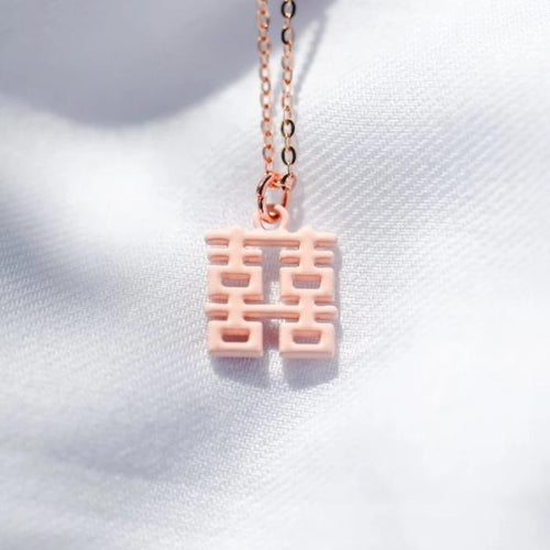 Mini Double Happiness Necklace, Pink by créature de keis