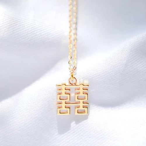 Mini Double Happiness Necklace, Gold by créature de keis