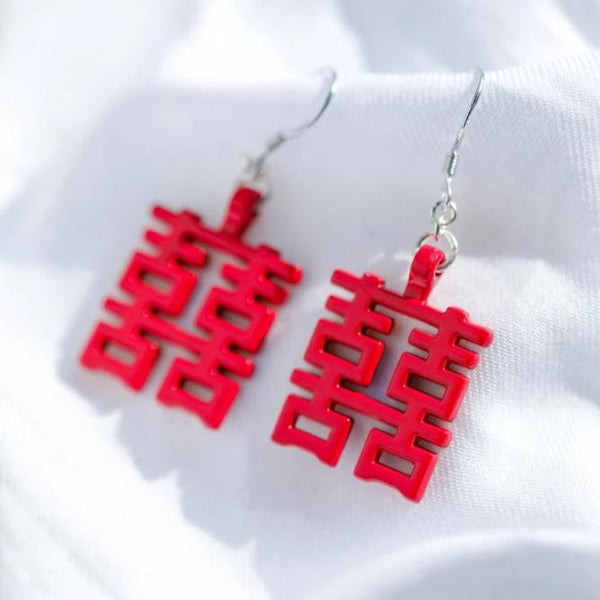 Double Happiness Earrings, Red by créature de keis