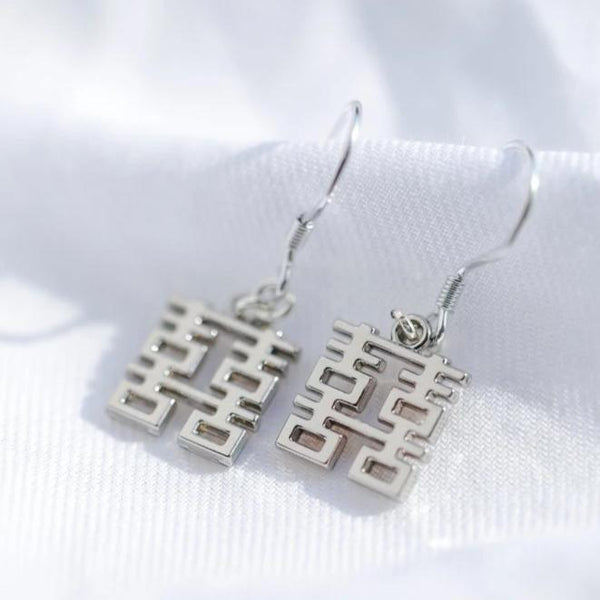 Mini Double Happiness Earrings by créature de keis, Silver
