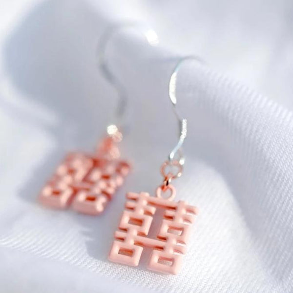 Mini Double Happiness Earrings by créature de keis, Pink