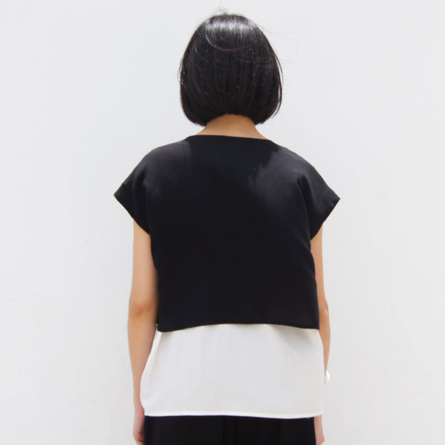Two layers Chinese Button top (Black/White)