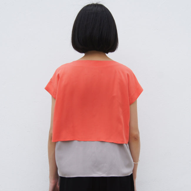 Two layers Chinese Button top (Grey/Orange)