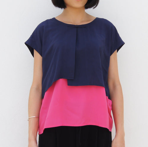 Two layers Chinese Button top (Navy/Pink)