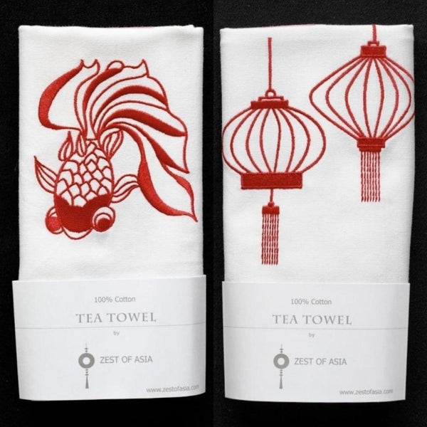 Set of Red Goldfish and Lanterns Tea Towel by Zest of Asia