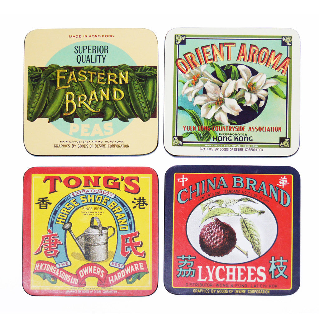 'Vintage Brands' coaster set