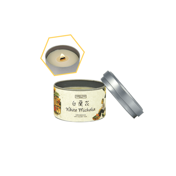 White Michelia Beeswax Tin Candle by Carroll&Chan