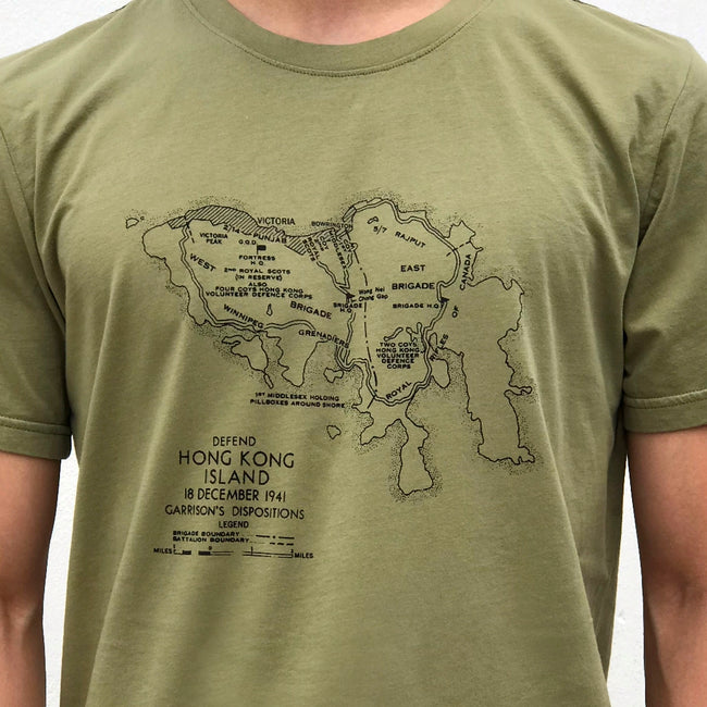 'WWII HK Island' T-shirt, Army Green