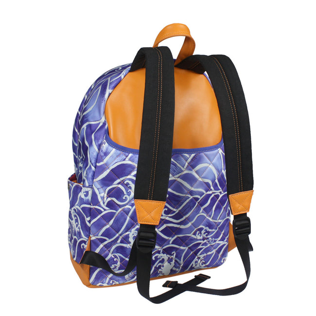 'Blue Wave' with leather trim backpack (large)