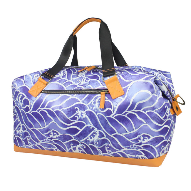 'Blue Wave' with leather trim duffel