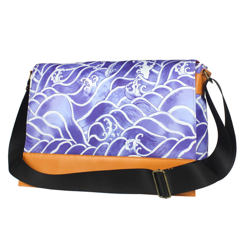 'Blue Wave' with leather trim messenger bag
