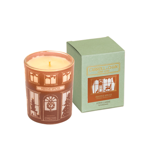 Festive Spices Beeswax Votive Candle, Christmas Edition by Carroll&Chan