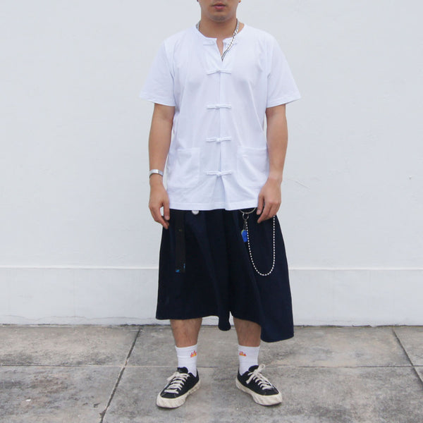 Oversized Fold Chinese Buttons Top In White