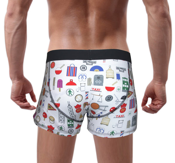 'Hong Kong Favourite Things' White Boxer Brief, Underwear, Goods of Desire, Goods of Desire