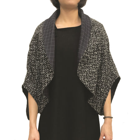 Chinese buttons round neck jacket, Charcoal Twist
