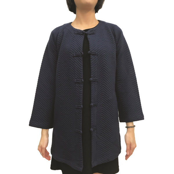 Chinese buttons round neck jacket, Navy Zigzag