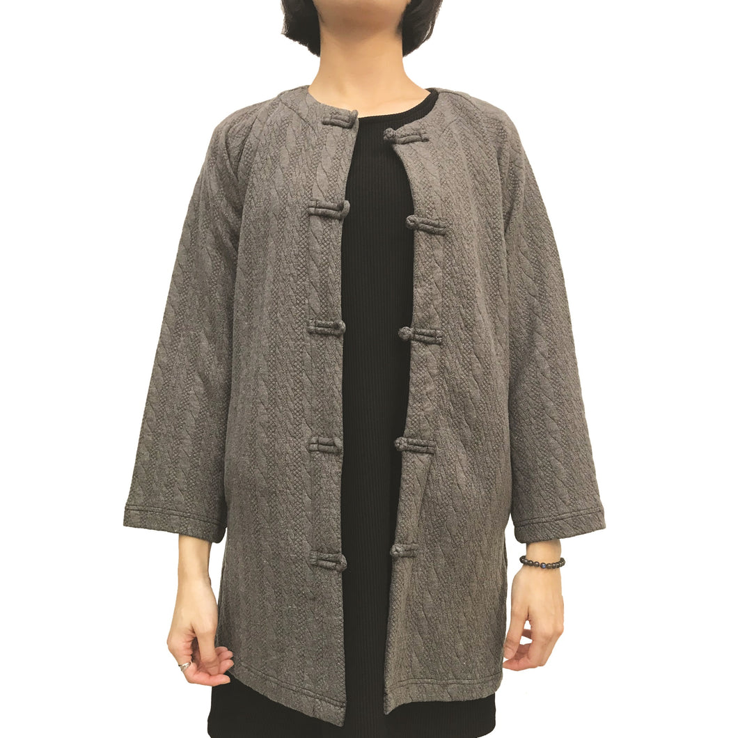 Mid-Length Knot Button Jacket, Charcoal Twist