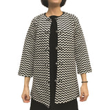 Chinese buttons round neck jacket, White/Black