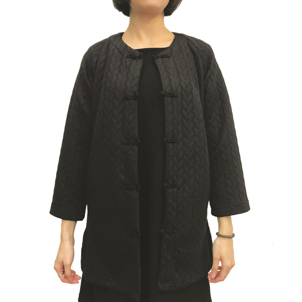 Mid-length Jacket with Knot Buttons, Black Twist
