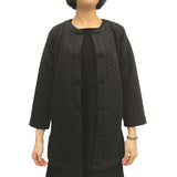 Chinese buttons round neck jacket, Black Braided