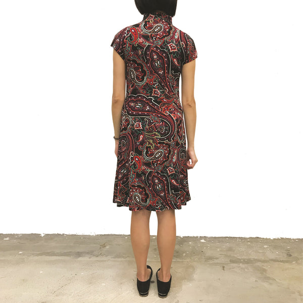 'Black/ Paisley' Printed Qipao Dress