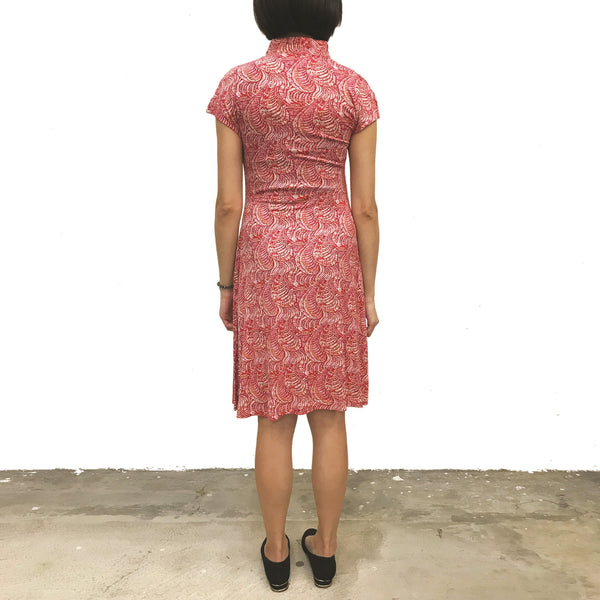 'Red/Orange finery' Printed Qipao Dress